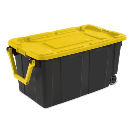 Sterilite 40 Gallon Yellow Lily Wheeled Industrial Tote