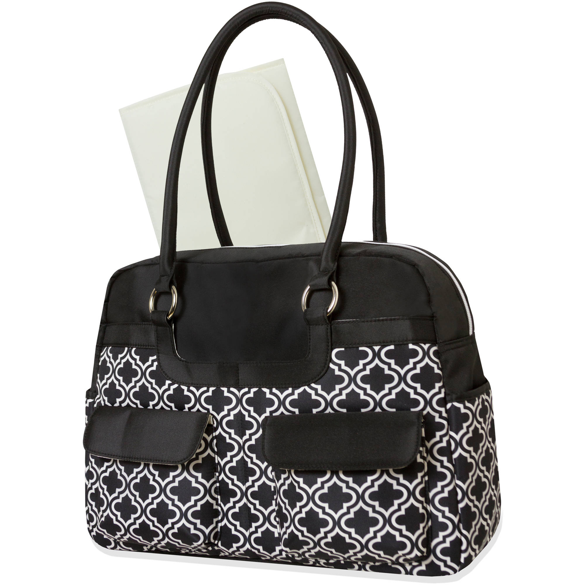 Baby Essentials Geometric Microfiber Diaper Bag, 2-Piece Set