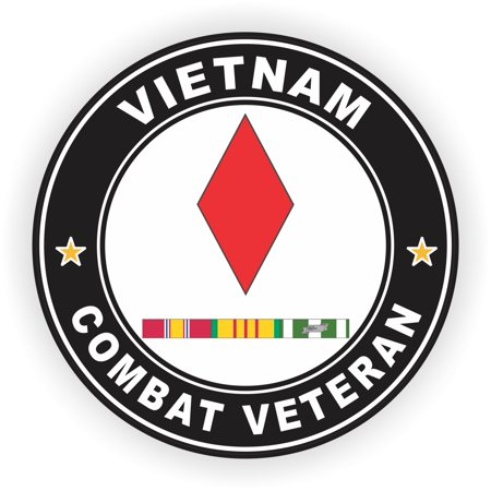 3.8 Inch 5th Infantry Division Vietnam Combat Veteran with Ribbons Decal