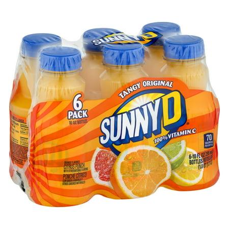 (4 Pack) Sunny D Juice, Orange, 10 Fl Oz, 6 Count