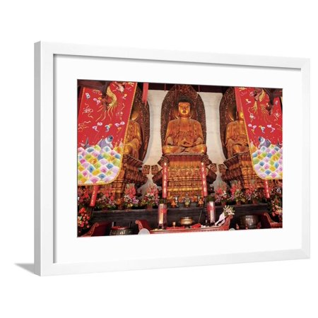 Buddhist Statues Jade Buddha Temple Jufo Si Shanghai, China Most Famous Buddhist Temple in Shanghai Framed Print Wall Art By William Perry Chinese Jade Folk Art