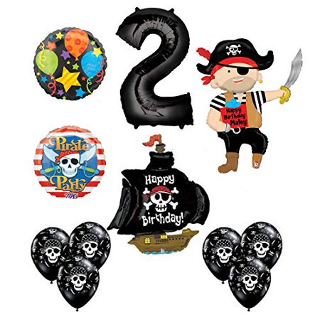 Mayflower Products Pirate 2nd Birthday Party Supplies Balloon Bouquet Decorations (Pirate Balloon Bouquet)
