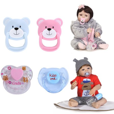 4PC New Dummy Pacifier For Reborn Baby Dolls With Internal Magnetic Accessories