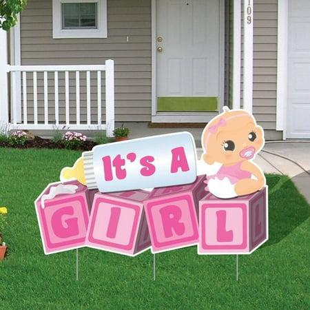 The Party Aisle ''It's a Girl!'' Blocks Baby Announcement Yard Sign (Set of 4) - Baby Announcement Signs For Yard