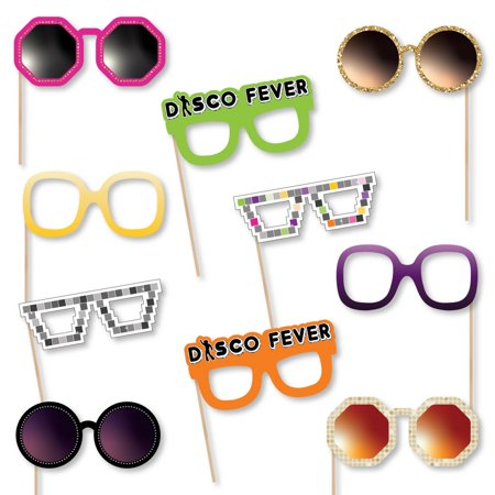 70's Disco Glasses - Paper Card Stock 1970s Disco Fever Party Photo Booth Props Kit - 10 Count](1970s Accessories)