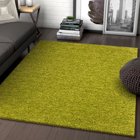 Solid Retro Modern Green Shag 7x10 (6'7'' x 9'10'') Area Rug Plain Plush Easy Care Thick Soft Plush Living Room Kids