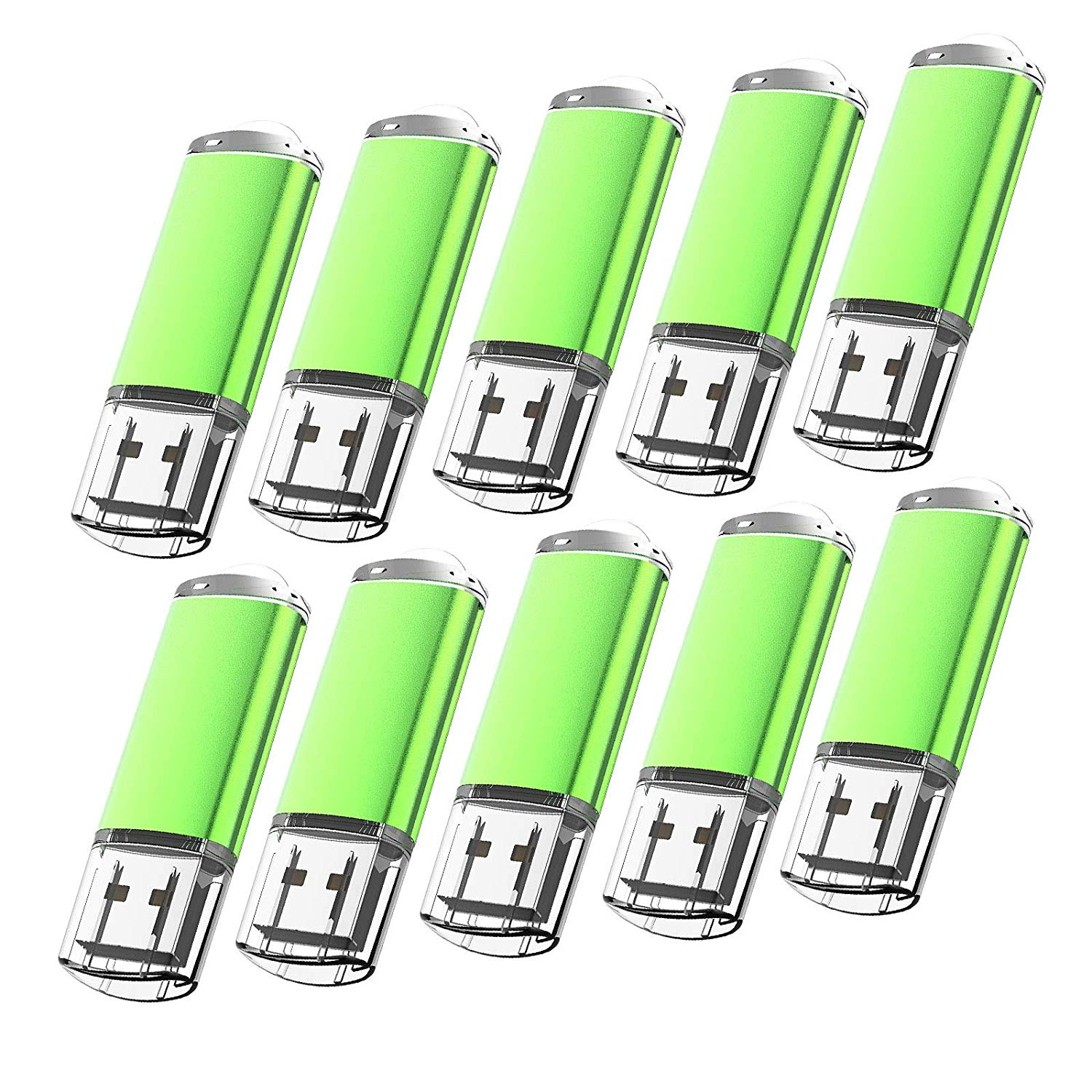 KOOTION 10 Pack 2GB USB 2.0 Flash Drives Memory Stick Thumb Drive, Green