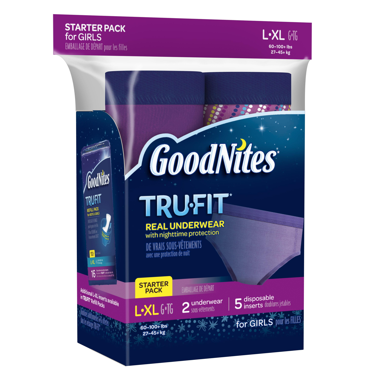 Goodnites Tru-Fit Bedwetting Underwear for Girls, Starter Pack