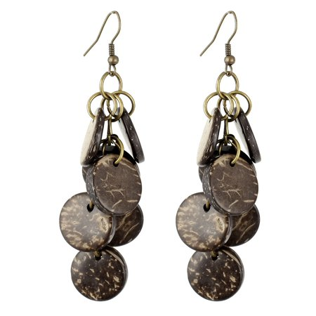 Lady Brown Wooden Bead Pendant Fish Hook Earrings Pair 7cm Length