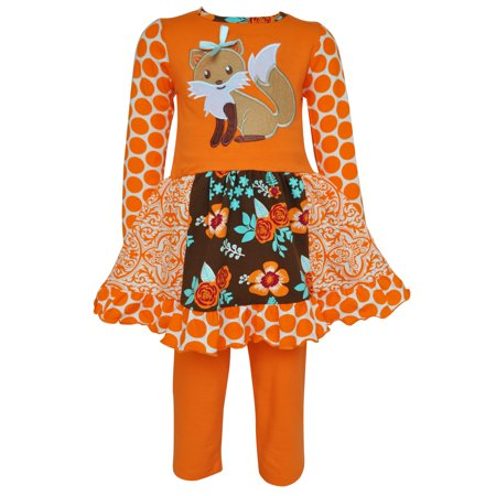 AnnLoren Girls Boutique Foxy Floral Dress and Legging Clothing Set