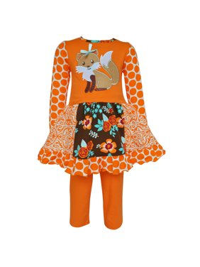10a55095203 Product Image AnnLoren Girls Boutique Foxy Floral Dress and Legging  Clothing Set