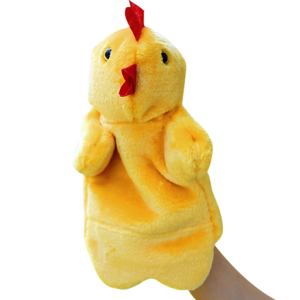 Mosunx Cute Cartoon Animal Doll Kids Glove Hand Puppet Soft Hen Plush Finger Toys
