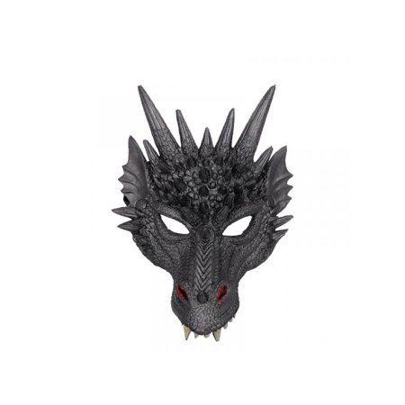 Rubber Face Masks Halloween (Topumt 4D Dragon Mask Lightweight Upper Half Face Mask for Halloween)
