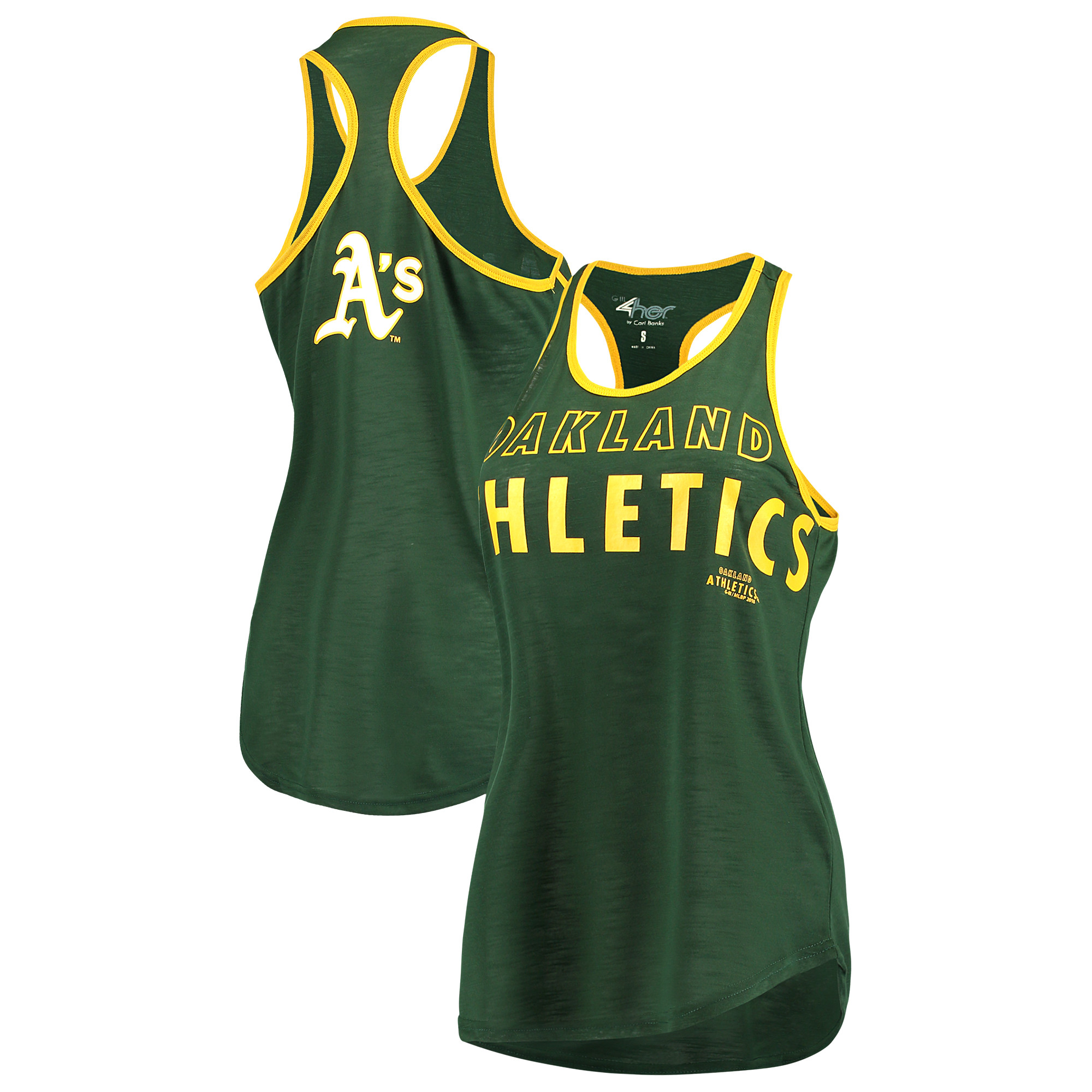 Oakland Athletics G-III 4Her by Carl Banks Women's Game Time Tank Top - Green/Gold