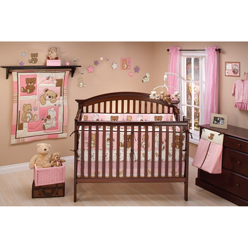 Little Bedding by NoJo Dreamland Teddy 10pc Nursery in a Bag Crib Bedding Set, Girl