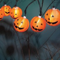 10-Count Halloween Fabric Pumpkin Lantern Lights