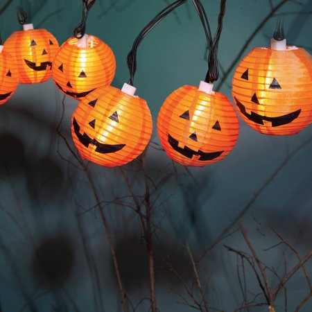 halloween 10 count fabric pumpkin lantern lights