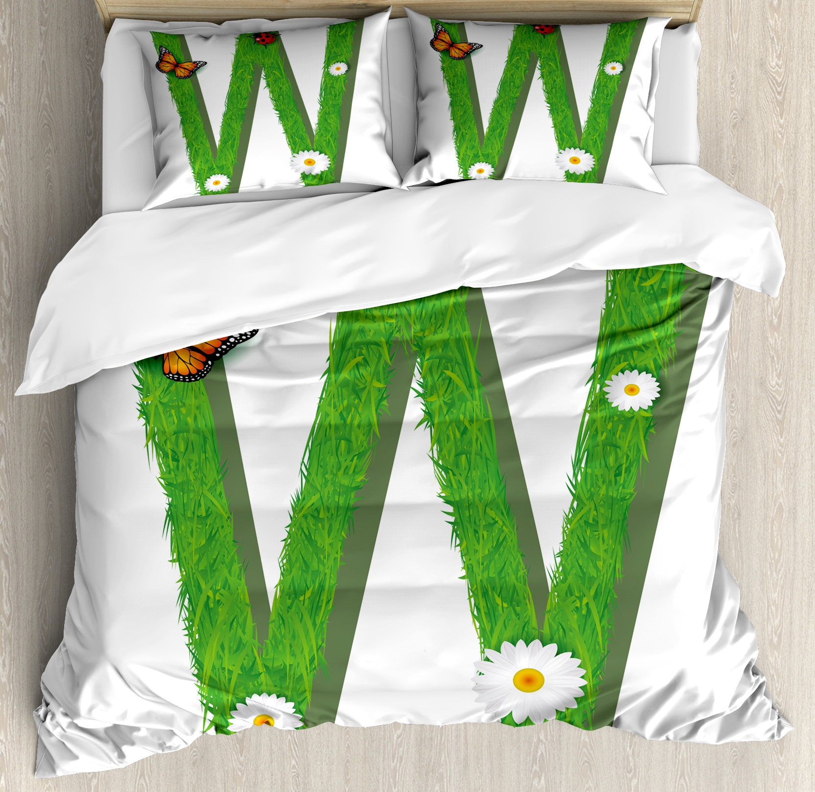 Letter W King Size Duvet Cover Set, Uppercase W Nature Influences Butterfly Freedom Inspirations of Summer Kids, Decorative 3 Piece Bedding Set with 2 Pillow Shams, Green Multicolor, by Ambesonne
