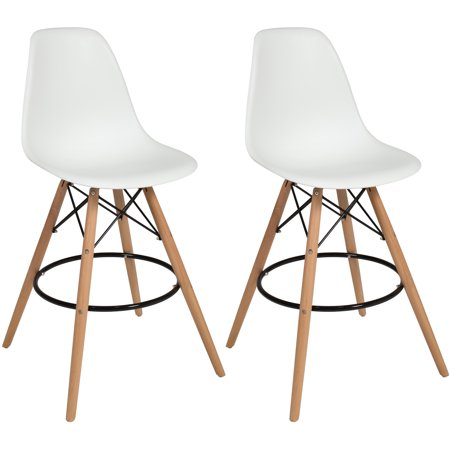 Best Choice Products Set of 2 Mid Century Modern Eames Style Counter Stools w/ Wooden Legs, Footrests - -