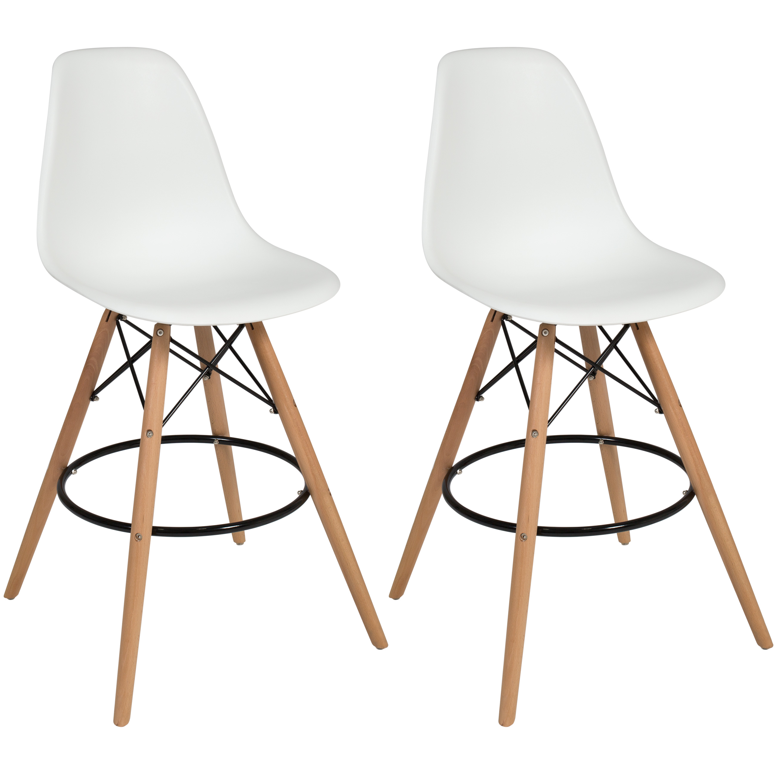 Best Choice Products Set Of 2 Mid Century Modern Eames Style Counter Stools  W/ Wooden