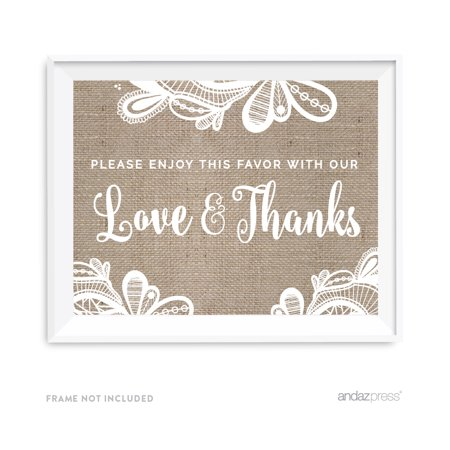 Please Enjoy Favor With Our Gratitude Burlap Lace Wedding Party Signs - Burlap And Lace Wedding Decorations