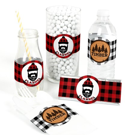 Lumberjack Party (Lumberjack - Channel The Flannel - DIY Party Supplies - Buffalo Plaid Party DIY Wrapper Favors & Decorations - Set of)