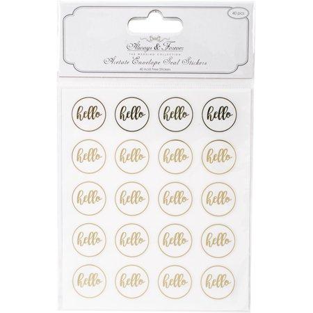 Craft Consortium Always & Forever Envelope Seal Stickers-Hello 25Mm Acetate  &