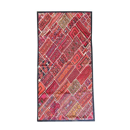 Mogul Indian Red Wall Tapestry Vintage Kutch Patchwork Ethnic ...