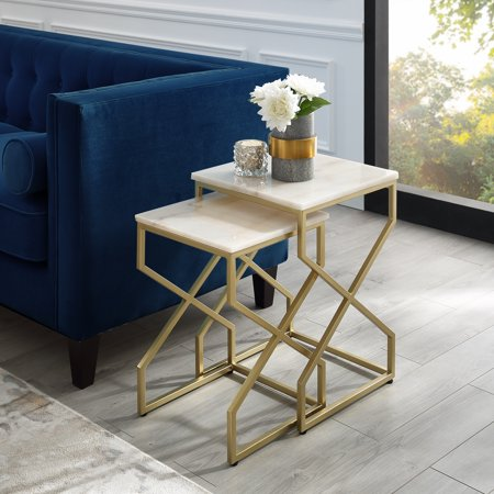 Shino Gold Nesting End Table - Square Natural Marble Top | Stackable | Metal X-cross Legs | Set of 2
