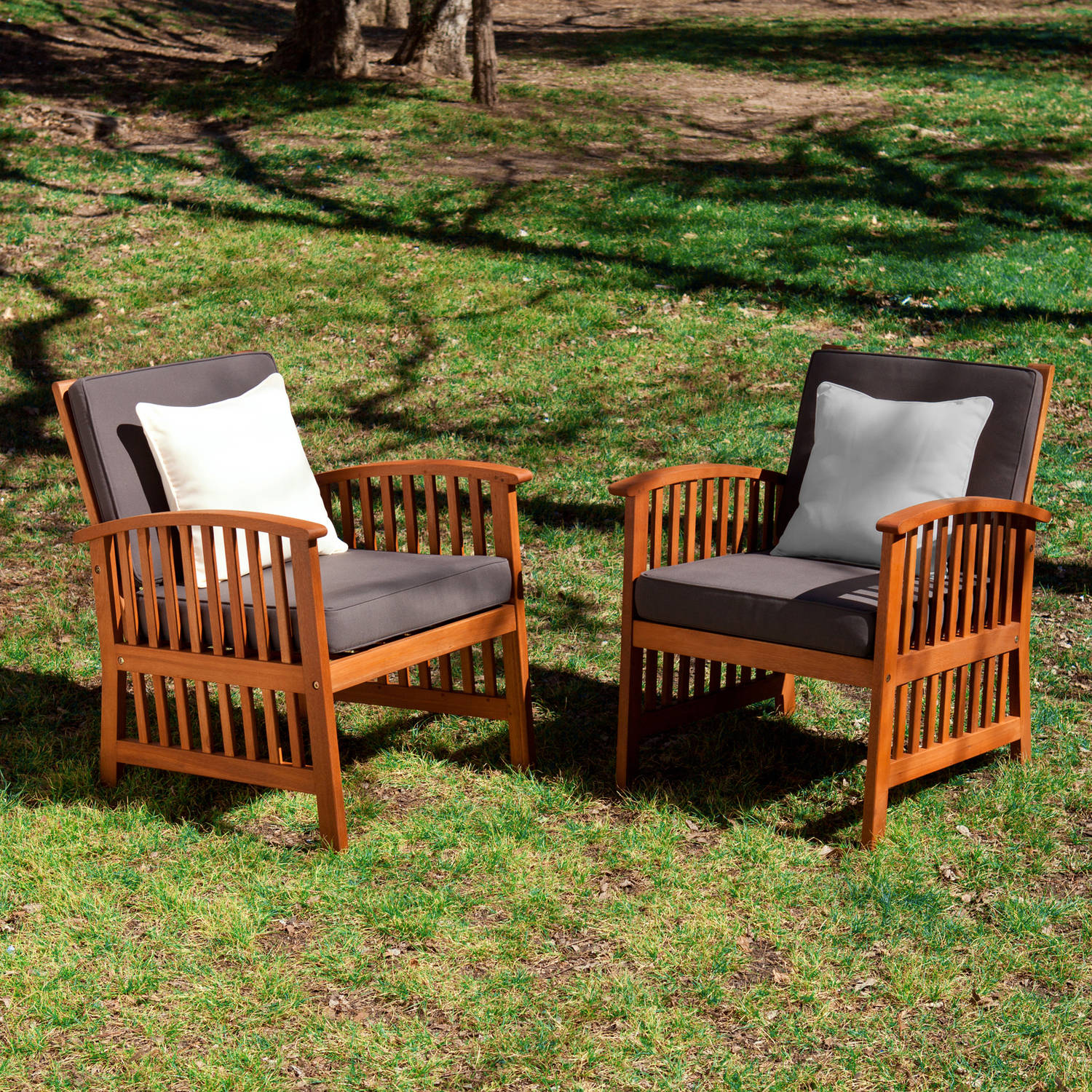 Southern Enterprises Tarlton Outdoor Armchairs, 2-Piece Set, Oiled Hardwood with Rich Greys and Ivory