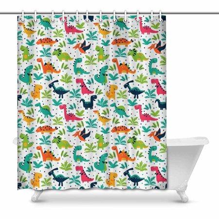 POP Funny Dinosaurs Bathroom Shower Curtain Set 66x72 inch - image 1 de 1