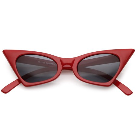 Retro Small High Pointed Sunglasses Neutral Colored Oval Lens 46mm (Red / (Black Pointed Sunglasses)