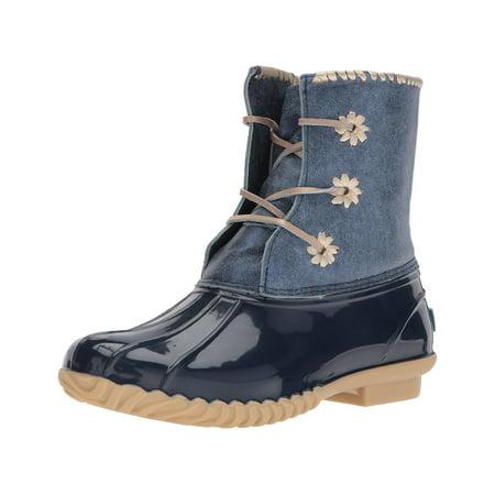 12b2874c4e9 Jack Rogers Women's Chloe Metallic Rain Boot, Midnight, Size 11.0