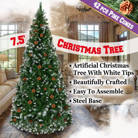 Uncut Natural - Strong Camel New Green 7.5' Snow Tipped Christmas Tree with pinecones Artificial Realistic Natural Branches -Unlit With Steel Stand (7.5' with 1220 Tips and 42 pinecones)