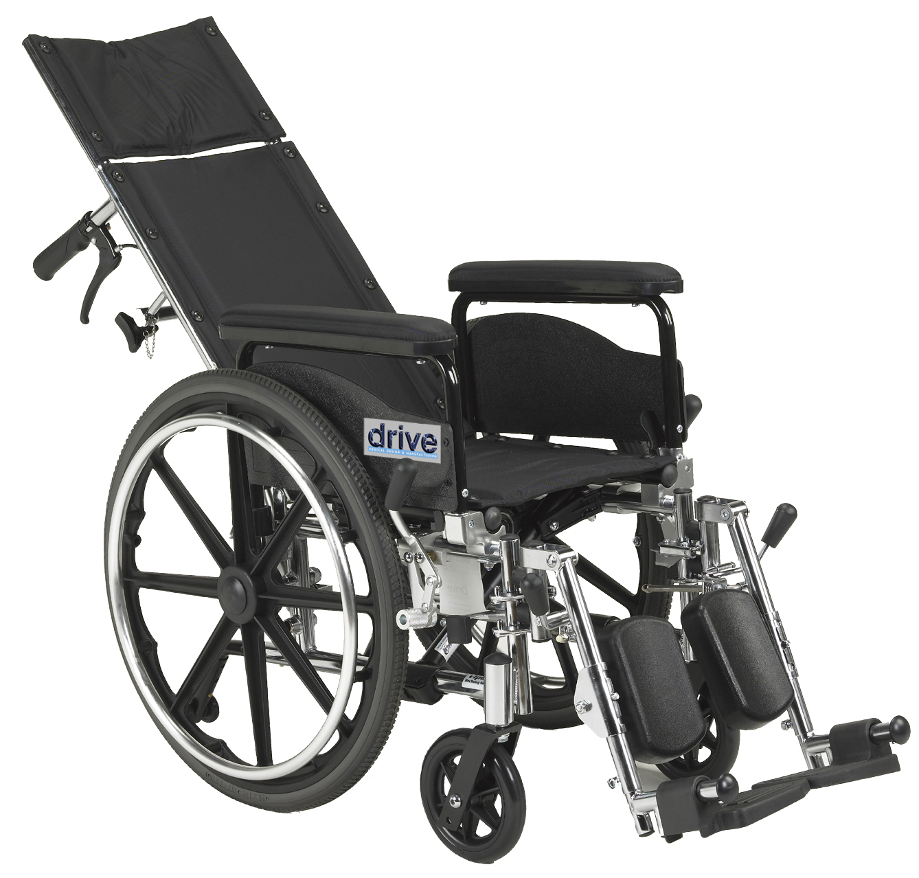 Drive Medical Viper Plus GT Full Reclining Wheelchair, Detachable Full Arms