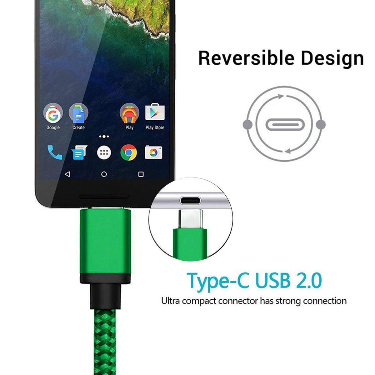 USB Type C Charger Cable 3-Pack ,Nylon Braided Charging Cord ,Works with Samsung Galaxy Fold Note 9 8 S10 S9 S8 S10E 10 Plus,LG V40 V50 V30 G8 G7 G6 Thinq,Google Pixel 3 2 3a XL 3-Pack 3.3//6.6//10 FT