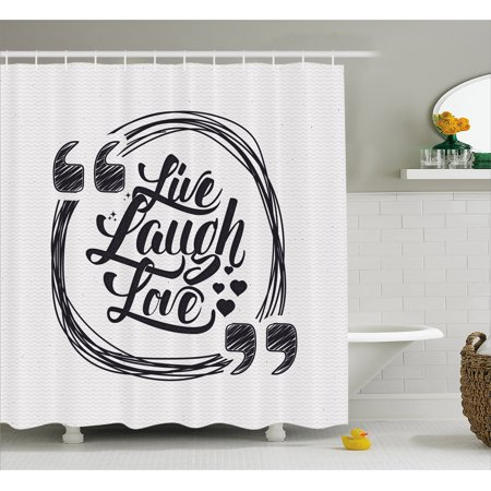 Live Laugh Love Shower Curtain Grunge Stylized Modern Lifestyle Phrase Happiness Themed Design Fabric