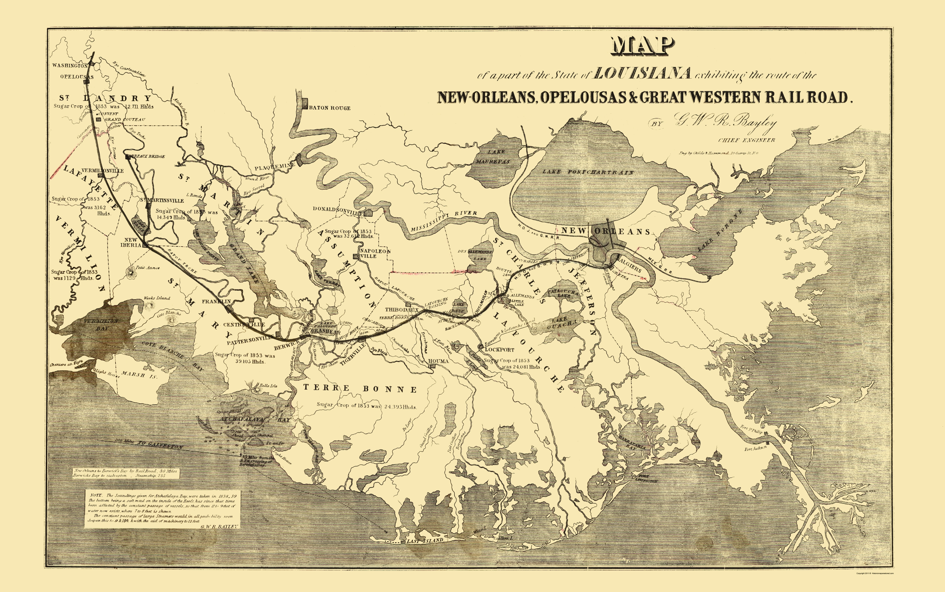 Opelousas Louisiana Map.Old Railroad Map New Orleans Opelousas And Great Western 1853