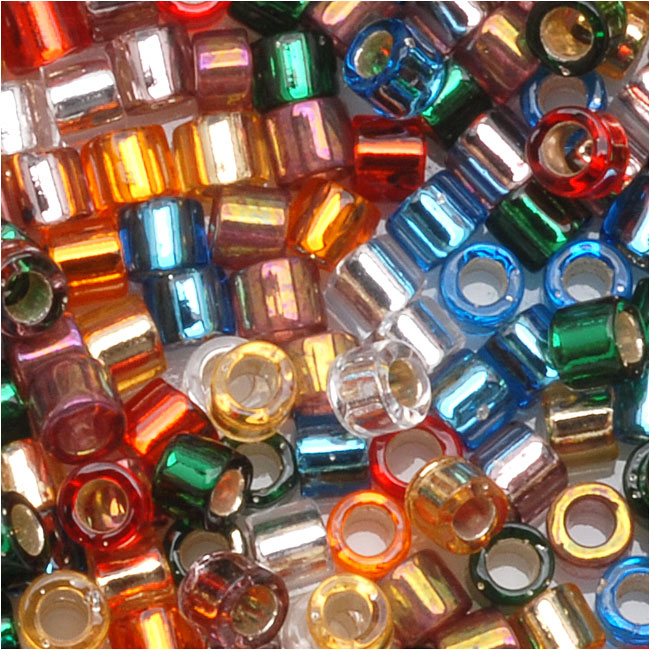 Miyuki Delica Seed Beads Mix 10/0 Silver Lined Rainbow 8 Grams