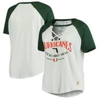 Miami Hurricanes Pressbox Women's Plus Size Abbie Criss-Cross Raglan Choker T-Shirt - White/Green