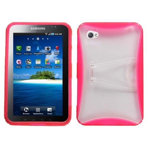 Insten Transparent Clear/Pink With Stand Gummy Cover Case For Samsung P1000 Galaxy Tab