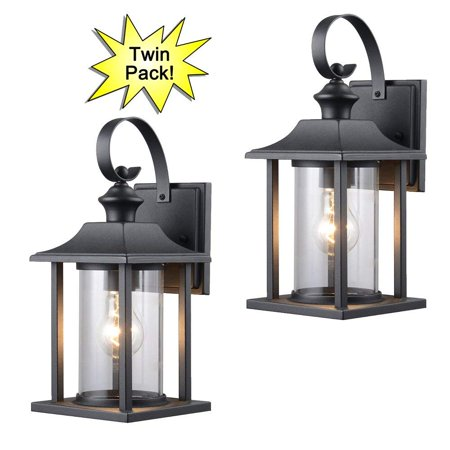 Hardware House 23 0414 Black Outdoor Patio Porch Wall Mount Exterior Lighting Lantern Fixtures With Clear Gl Twin Pack