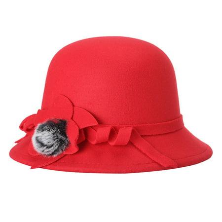 Felting Fashion (Women Fashion Felt Fedora Hat Spring Autumn Lady Wool Bowler Caps With Pompon Studded )