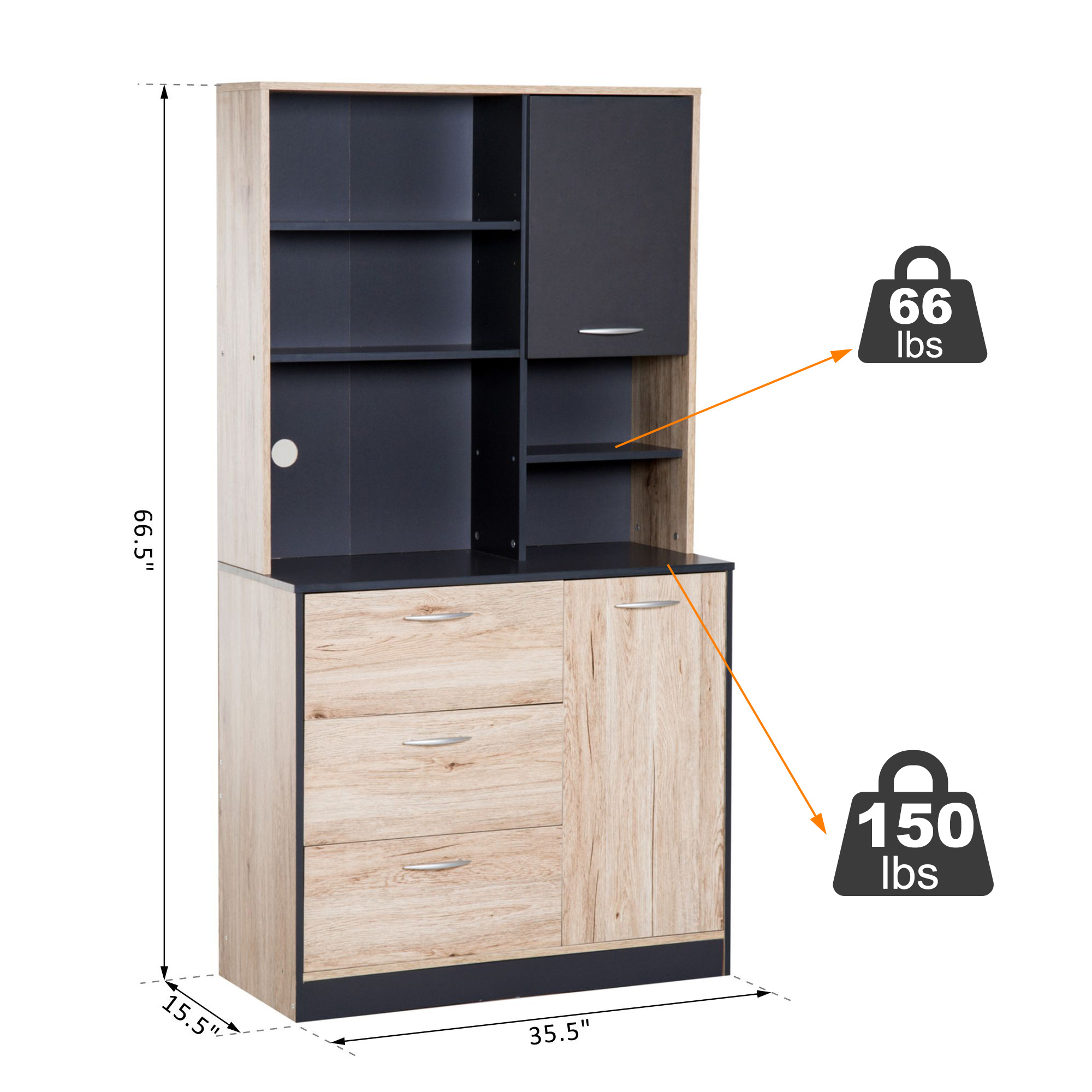 Homcom 67 Modern Freestanding Kitchen Cupboard Cabinet With Microwave Storage Hutch Natural Wood Finish Charcoal Walmart Com Walmart Com