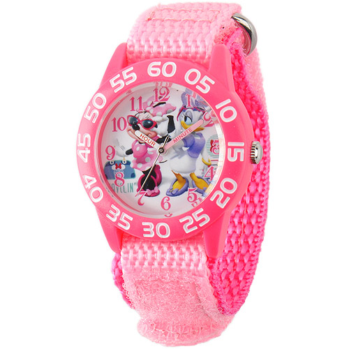 Disney Minnie Mouse and Daisy Duck Girls' Plastic Case Watch, Pink Nylon Strap