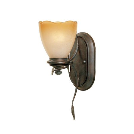 Designers Fountain 95601-OB Timberline Collection 1-Light Wall Sconce, Old Bronze Finish with Sculpted Ochere Luster Glass Shade