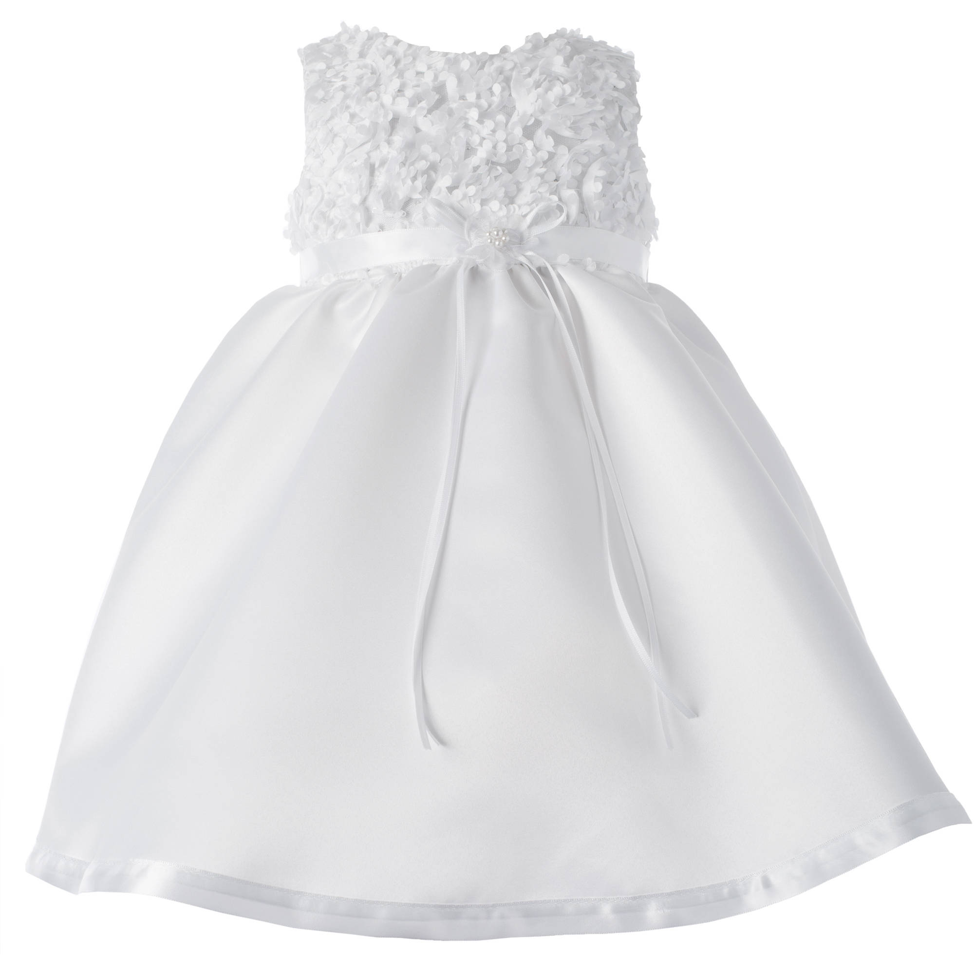Christening Baptism Newborn Baby Girl Special Occasion Sleeveless Satin Dress With Floral Bodice