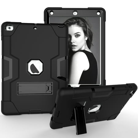 Allytech iPad Air 2 Case, iPad A1566/A1567 Kids Proof Case, Apple iPad Pro 9.7 Case, Three Layer Shockproof Rugged Armor Defender Protective Case Cover with Kickstand