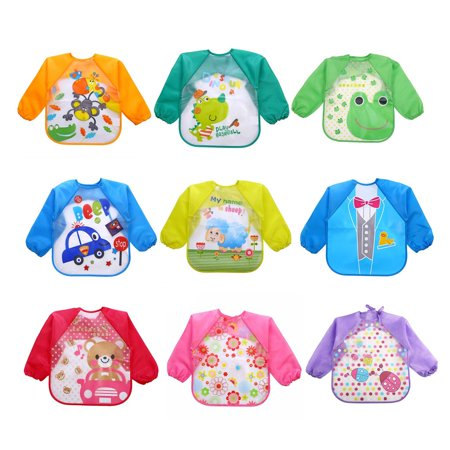 53ed19ef4716 JOYFEEL Clearance Lovely Baby Bibs Infant Long Sleeve Waterproof Baby  Feeding Smock Children Plastic Coverall Bib Toddler Scarffor Baby