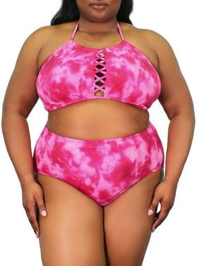 100 Degrees Women's Plus-Size Tie Dye X-Front Bikini Swimsuit Top
